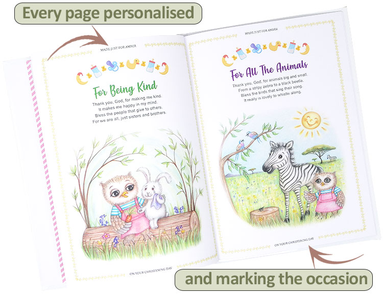 Customised Christening Gift Book of Blessings for Baby