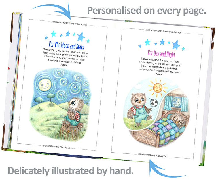 Preview Inside the personalised prayer and blessing book for kids